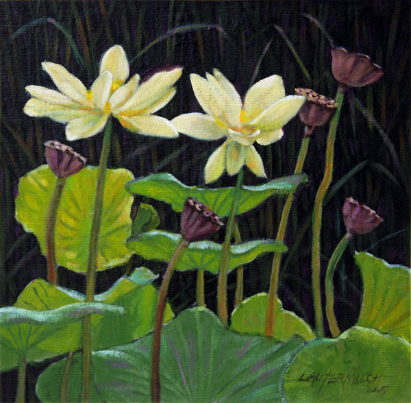 Lotus Art Print featuring the painting Touching Lotus Blooms by John Lautermilch