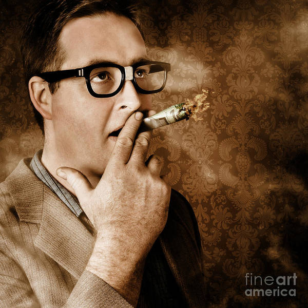 Money Art Print featuring the photograph Vintage business man smoking money in success by Jorgo Photography - Wall Art Gallery