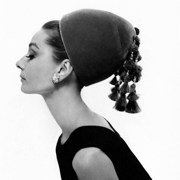 Accessories Art Print featuring the photograph Audrey Hepburn Wearing A Givenchy Hat by Cecil Beaton