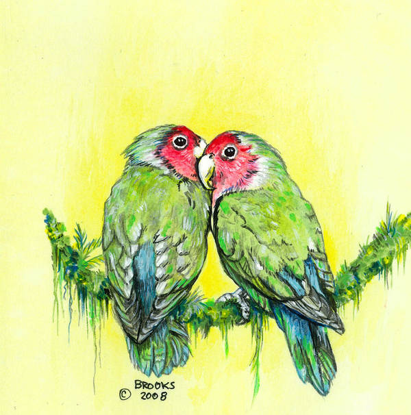 Lovebird Art Print featuring the painting Everything is Just Peachy by Richard Brooks
