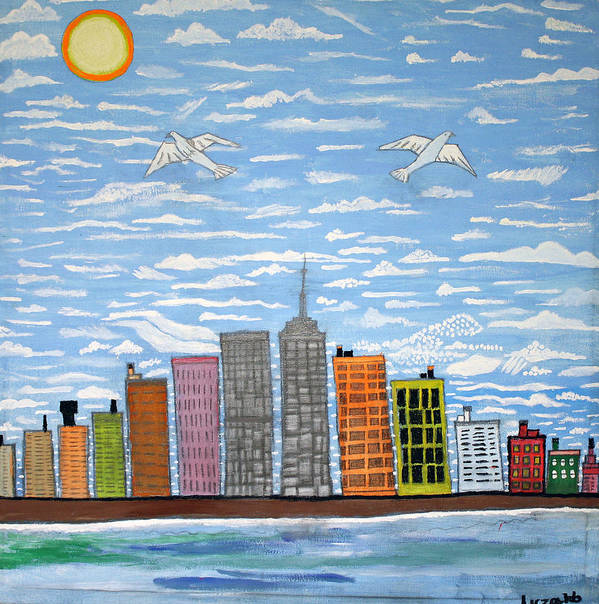 New York City Art Print featuring the painting New York by Luzaldo