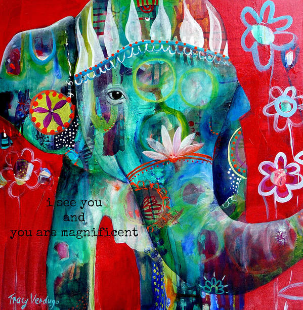 Elephant Art Print featuring the photograph I see you by Tracy Verdugo