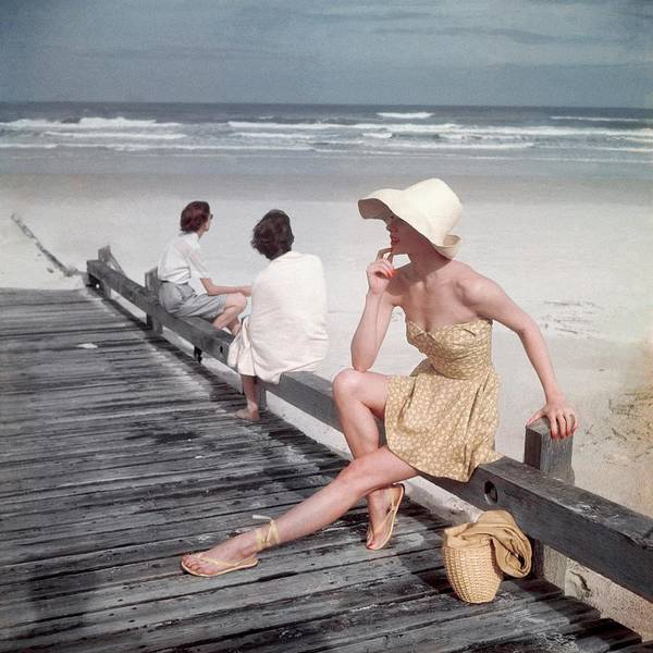 Accessories Art Print featuring the photograph A Model Sitting On A Ramp by Serge Balkin