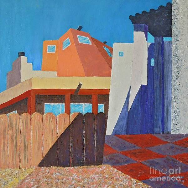 Architecture Art Print featuring the painting Albuquerque Rays by Judith Espinoza