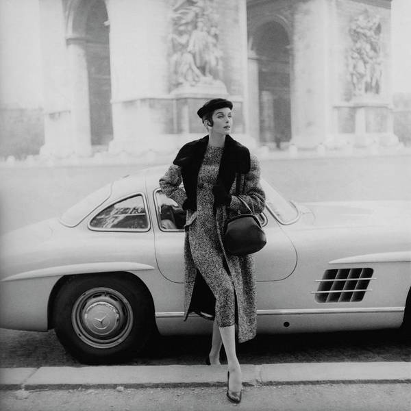 Fashion Art Print featuring the photograph Anne St. Marie By A Mercedes-benz Car by Henry Clarke
