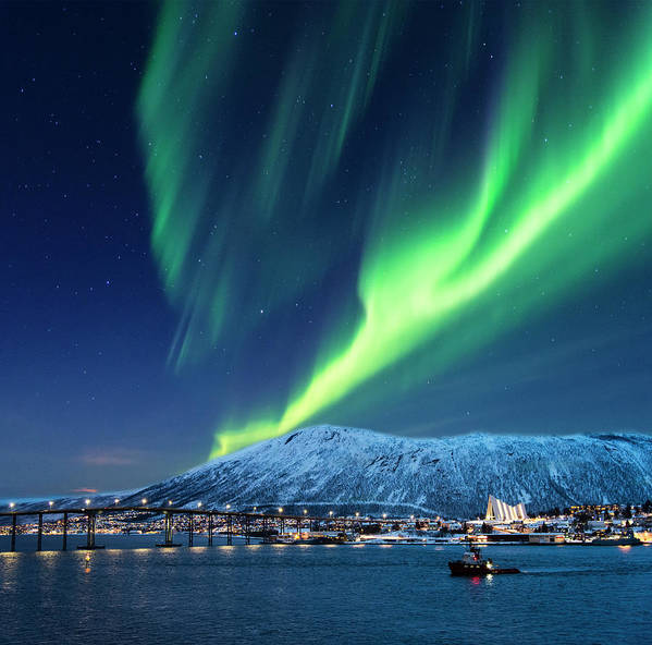 Scenics Art Print featuring the photograph Aurora Borealis Over Tromso Port by Mike Hill