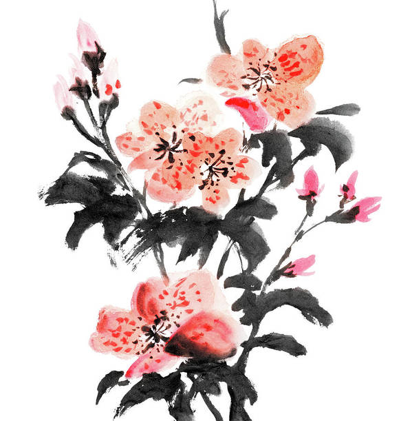 Chinese Culture Art Print featuring the digital art Azalea Flowers by Vii-photo