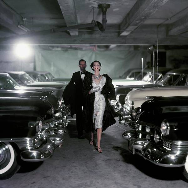 Fashion Art Print featuring the photograph Barbara Mullen With Cars by John Rawlings