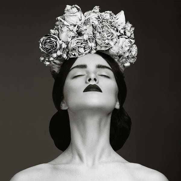 Crown Art Print featuring the photograph Beautiful Woman With Wreath Of Flowers by Lambada