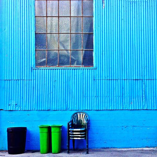 Window Art Print featuring the photograph Bins and Chairs by Julie Gebhardt