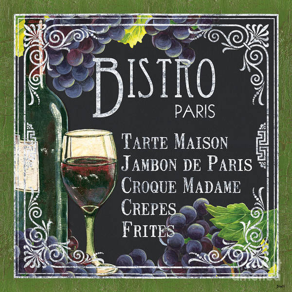 Bistro Art Print featuring the painting Bistro Paris by Debbie DeWitt