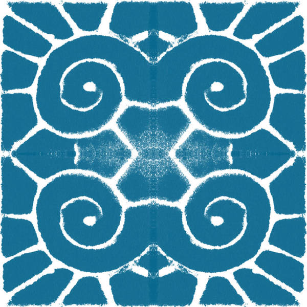 Wave Art Print featuring the painting Blue and White Wave Tile- abstract art by Linda Woods