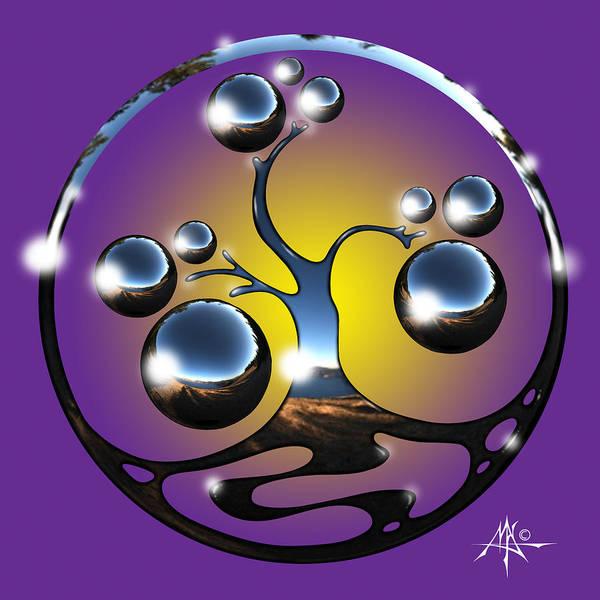 Tree Art Print featuring the digital art Bonsai Chrome Logo by Robert Fenwick May Jr
