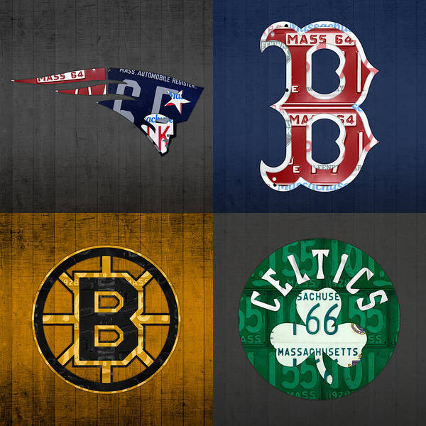 Boston Art Print featuring the mixed media Boston Sports Fan Recycled Vintage Massachusetts License Plate Art Patriots Red Sox Bruins Celtics by Design Turnpike