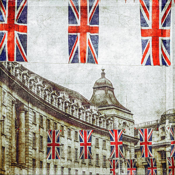 Hanging Art Print featuring the photograph British Flags Flying Above Regent St by Doug Armand