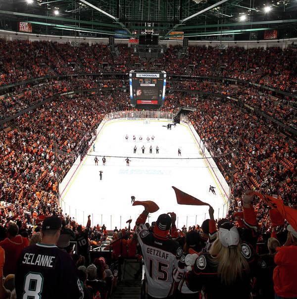 Playoffs Art Print featuring the photograph Calgary Flames V Anaheim Ducks - Game by Debora Robinson