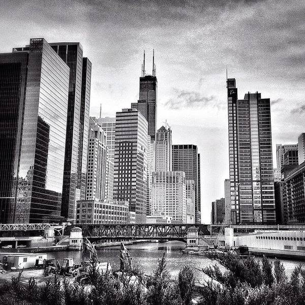 America Art Print featuring the photograph Chicago River Buildings Black and White Photo by Paul Velgos