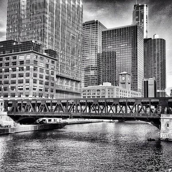 America Art Print featuring the photograph Wells Street Bridge Chicago HDR Photo by Paul Velgos