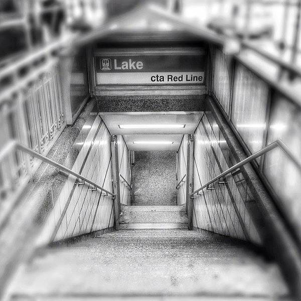 America Art Print featuring the photograph Chicago Lake CTA Red Line Stairs by Paul Velgos