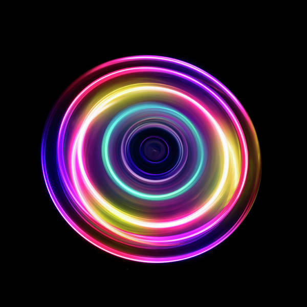 Focus Art Print featuring the photograph Circle Light Trails by Miragec