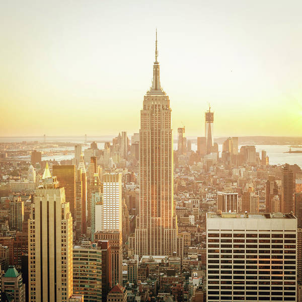 Scenics Art Print featuring the photograph Cityscape Manhattan Sunset New York by Mlenny