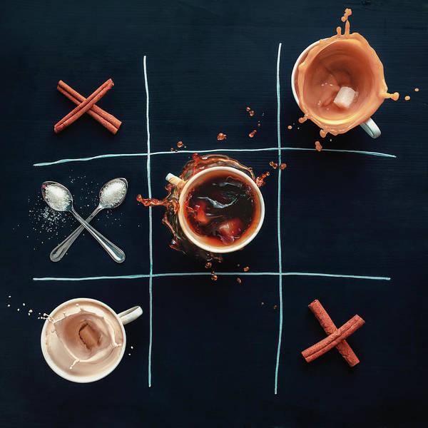 Milk Art Print featuring the photograph Coffee Tic-tac-toe by Dina Belenko Photography
