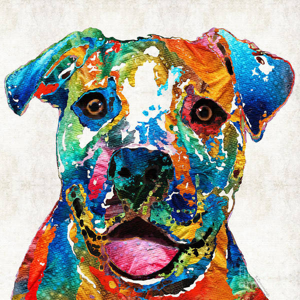 Dog Art Print featuring the painting Colorful Dog Pit Bull Art - Happy - By Sharon Cummings by Sharon Cummings