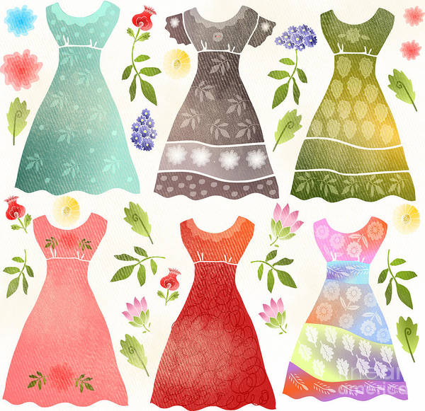 Dresses Art Print featuring the digital art Colorful Dresses by Elaine Jackson