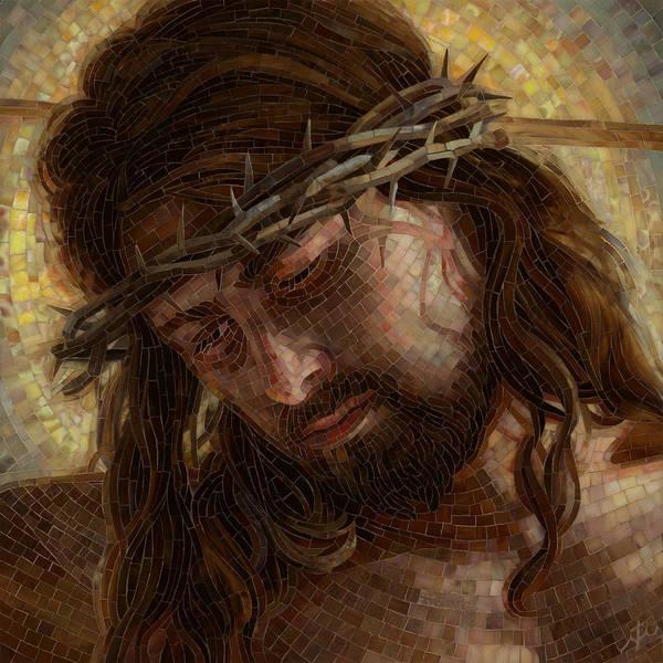Jesus Art Print featuring the painting Crown of Thorns Glass Mosaic by Mia Tavonatti