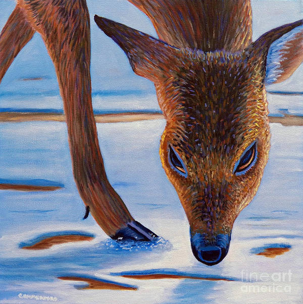 Deer Art Print featuring the painting December by Brian Commerford