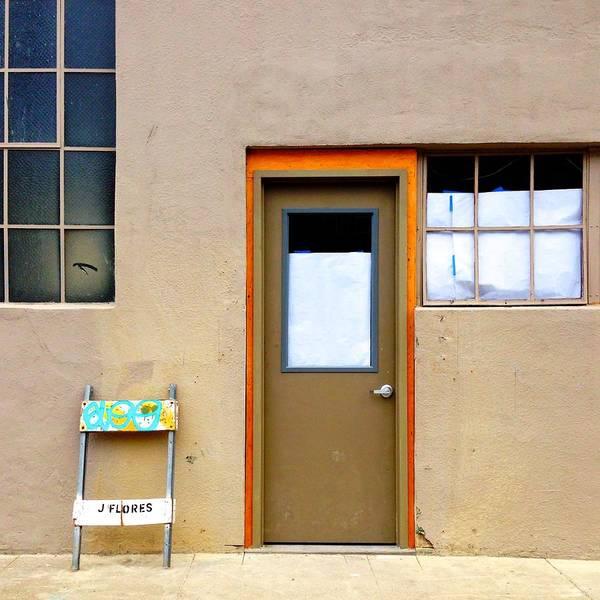 #door #window #wall #sawhorse #color Art Print featuring the photograph Door And Windows by Julie Gebhardt