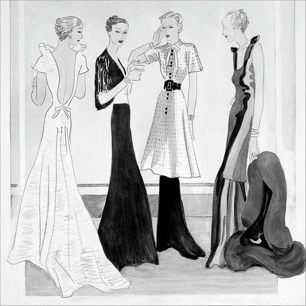 Fashion Art Print featuring the digital art Drawing Of Four Well-dressed Women by Eduardo Garcia Benito