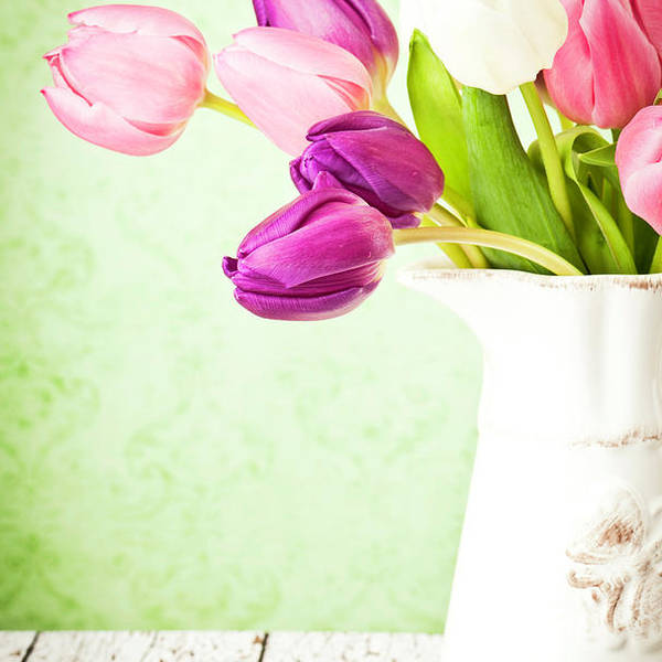 Mother's Day Art Print featuring the photograph Easter Tulips And Copy Space by Catlane