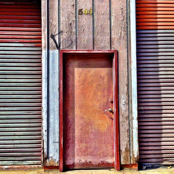 #door #reddoor #urban  Art Print featuring the photograph Faded Door by Julie Gebhardt