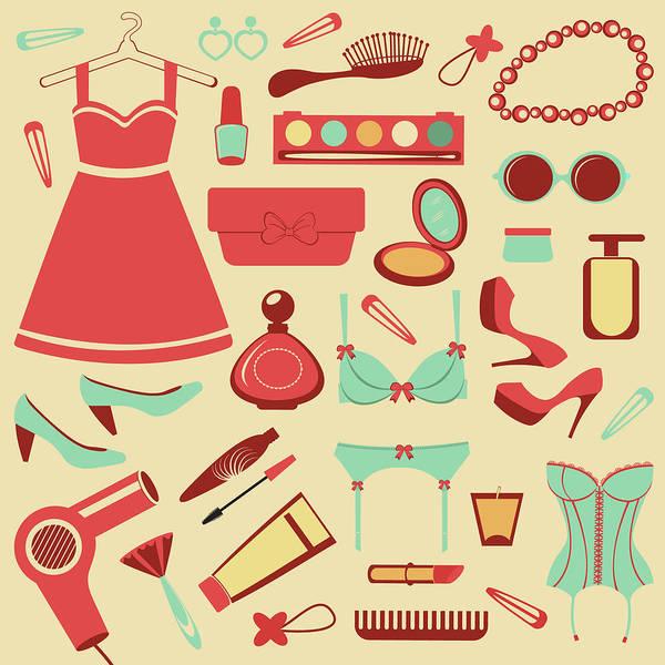 Swimwear Art Print featuring the photograph Fashion Items Set by Olillia