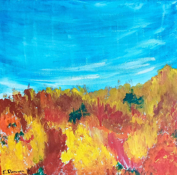 Fall Leaves Art Print featuring the painting Fiery Fall in the Hills by Eliza Donovan