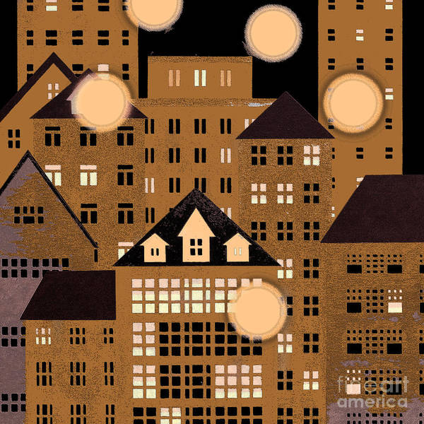Cityscape Art Print featuring the painting Globes Of Light by Robert Todd
