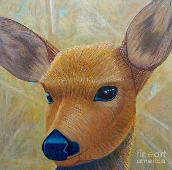 Deer Art Print featuring the painting Golden Healer II by Brian Commerford