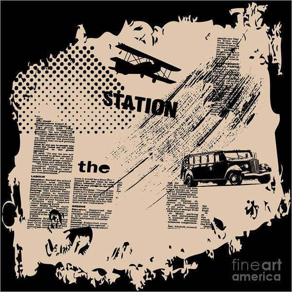 Newspaper Art Print featuring the digital art Grunge Vector Background by Elanur Us