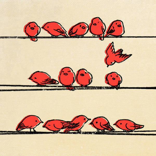 Birds Art Print featuring the drawing Hanging Out by Eric Fan