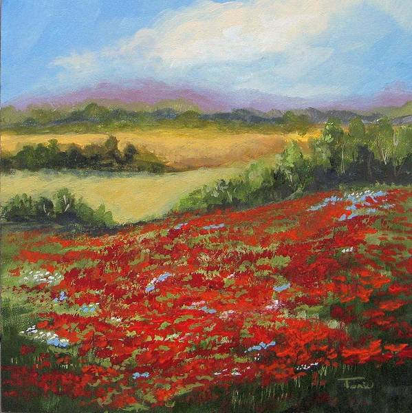 Poppies Art Print featuring the painting Highway Poppies by Torrie Smiley