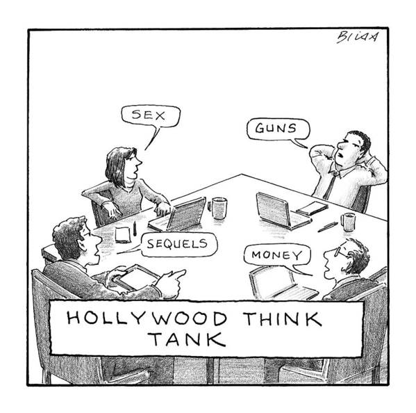 Hollywood Think Tank Art Print featuring the drawing Hollywood Think Tank by Harry Bliss