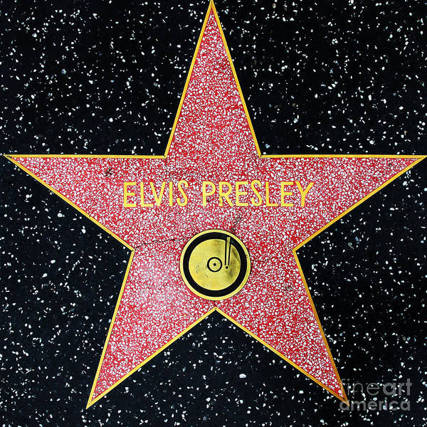 Wingsdomain Art Print featuring the photograph Hollywood Walk of Fame Elvis Presley 5D28923 by Wingsdomain Art and Photography