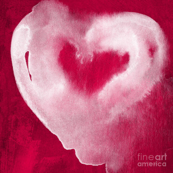 Valentine Art Print featuring the mixed media Hot Pink Heart by Linda Woods