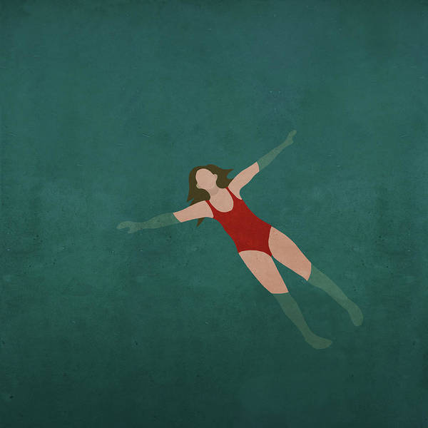 Tranquility Art Print featuring the digital art Illustration Of Woman Swimming In Water by Malte Mueller