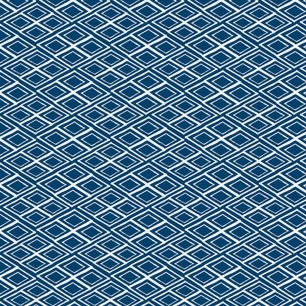 Indigo And White Art Print featuring the painting Indigo and White Small Diamonds- Pattern by Linda Woods