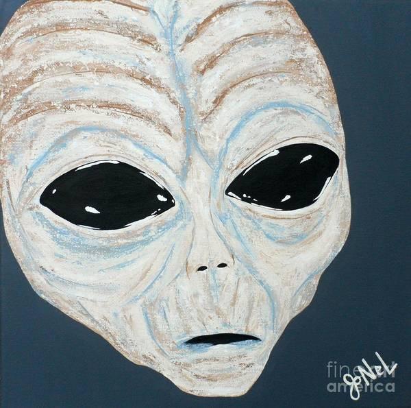Alien Art Print featuring the painting Intruder by JoNeL Art