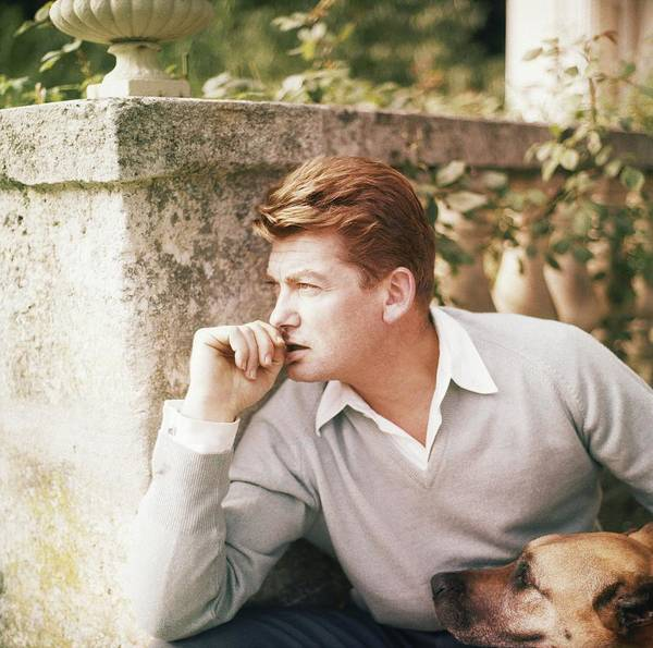 Outdoors Art Print featuring the photograph Jean Marais With A Dog by Horst P. Horst