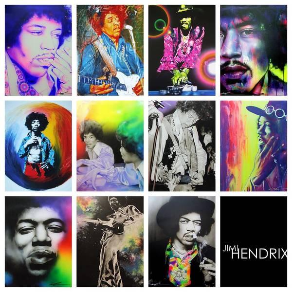 Jimi Hendrix Art Print featuring the painting Jimi Collage by Christian Chapman Art