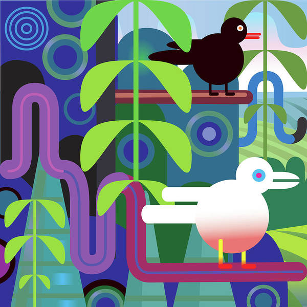 Pets Art Print featuring the digital art Jungle Vector Illustration With Birds by Charles Harker